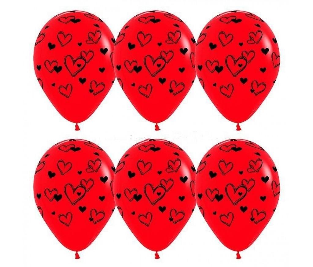 """Гелиевый шар """"Набросок Сердец"""""""