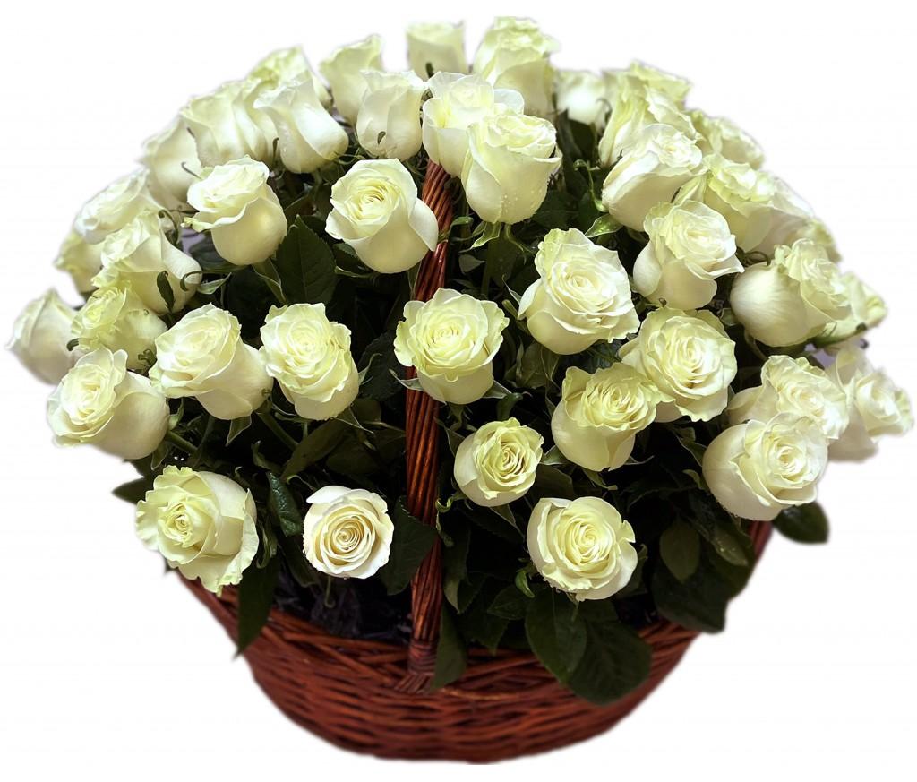 Корзина белых роз №708