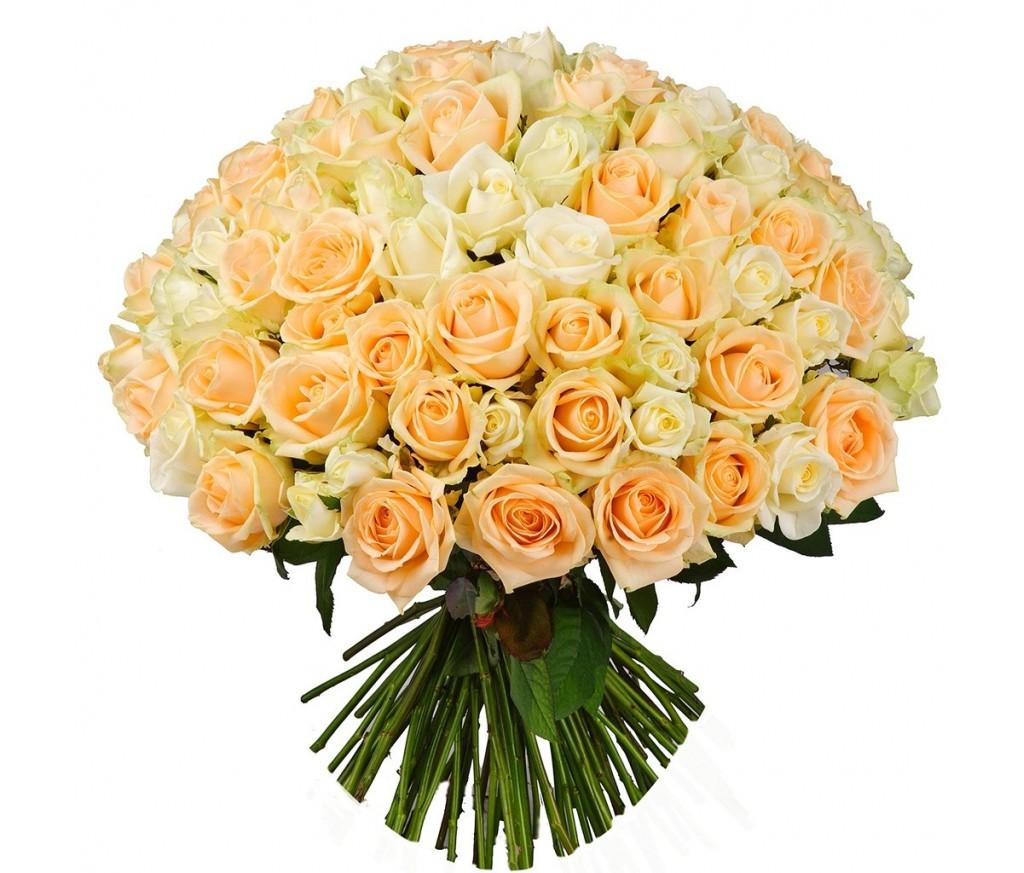 Букет персиковых роз №130